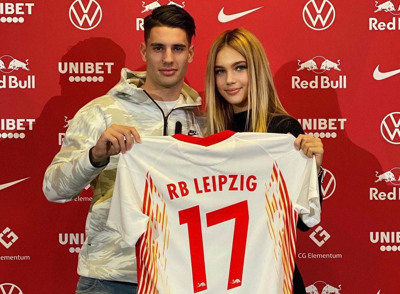 Szoboszlai Dominik és Gécsek Fanni az RB Leipzig mezével