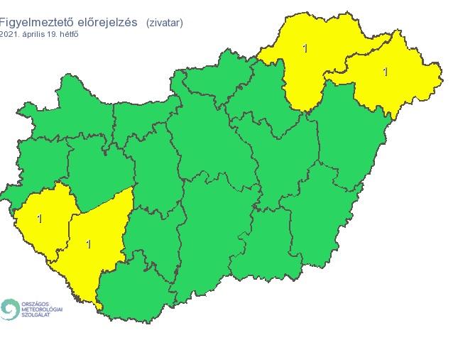 három megyében is esni fog