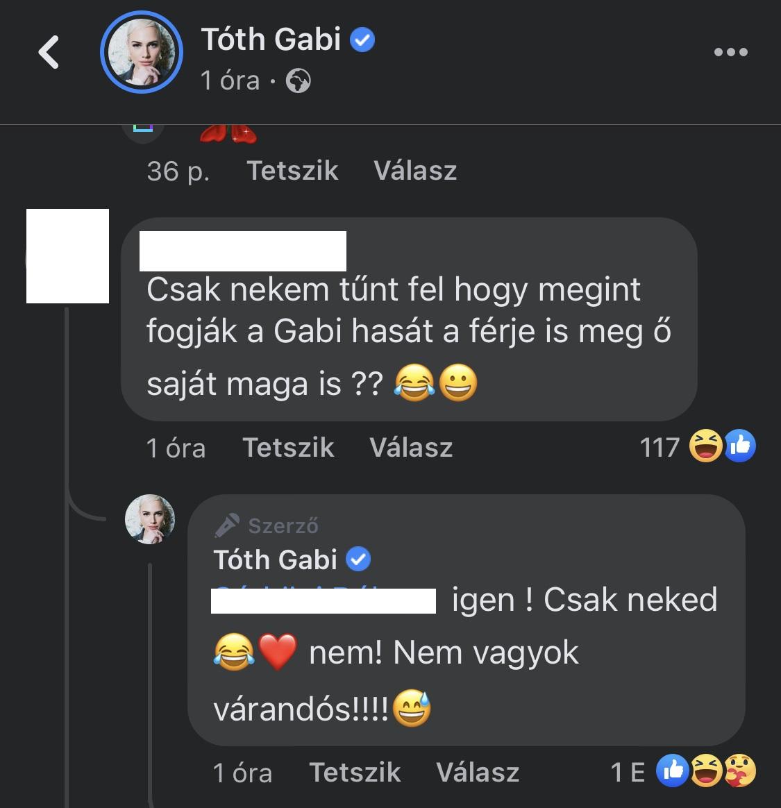 Tóth Gabi hamar reagált