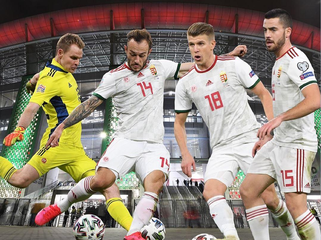 Dibusz, Lovrencsics, Sigér és Botka (balról jobbra) a válogatott mezben