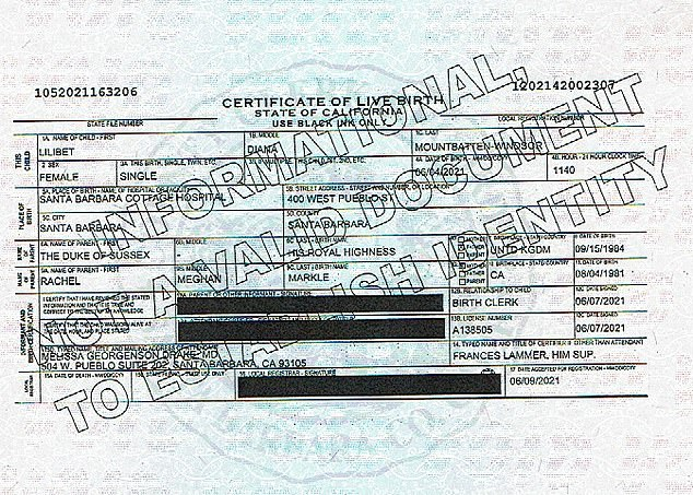 Lilibet Diana születési anyakönyvi kivonata