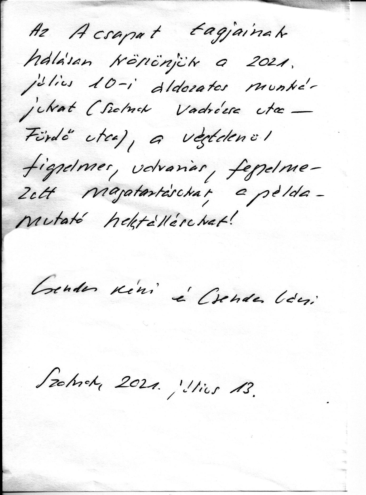 kézzel írott levélben