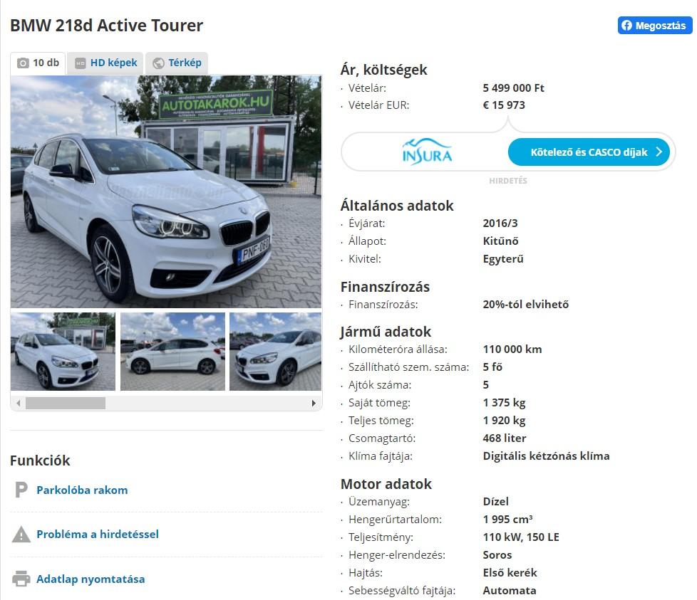 5,5 millióért árulja a kocsiját Hódi Pamela