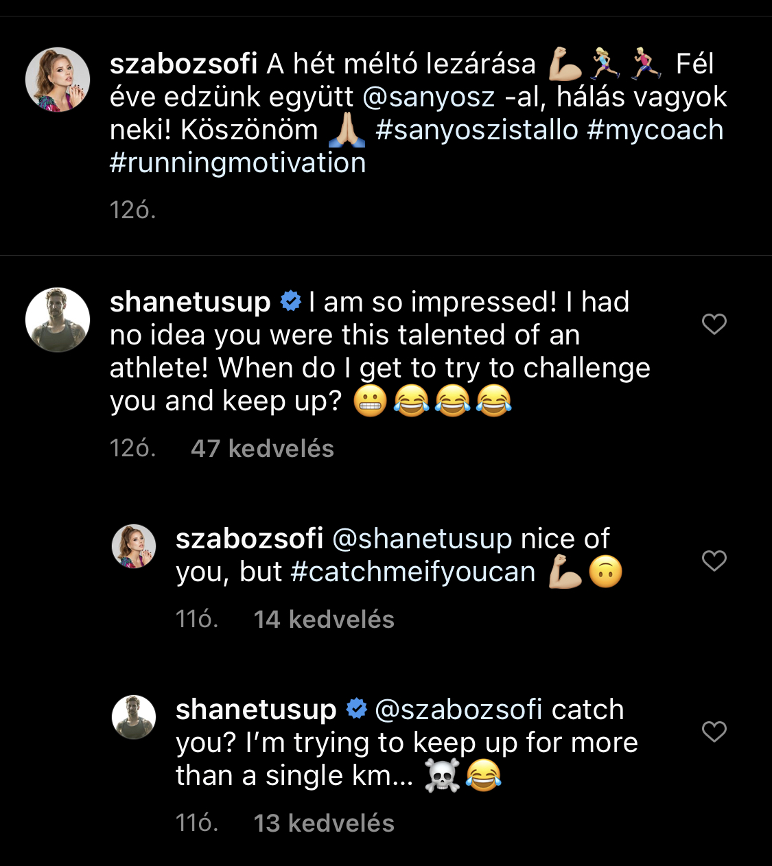Hoppá, Shane Tusup az interneten kacérkodott Szabó Zsófival