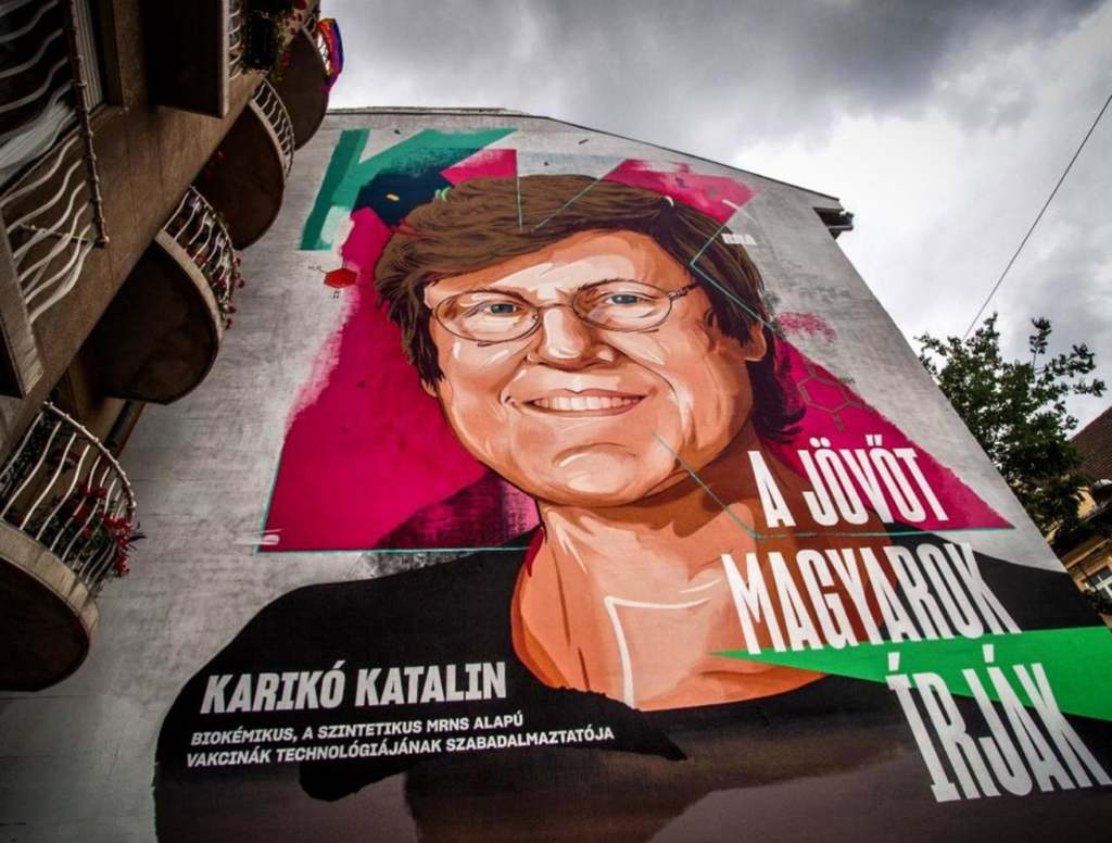 Karikó Katalin tűzfalfestmény