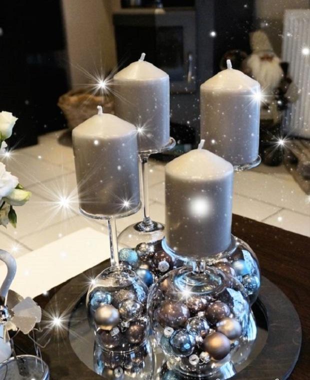 Karácsonyi asztali dekoráció házilag